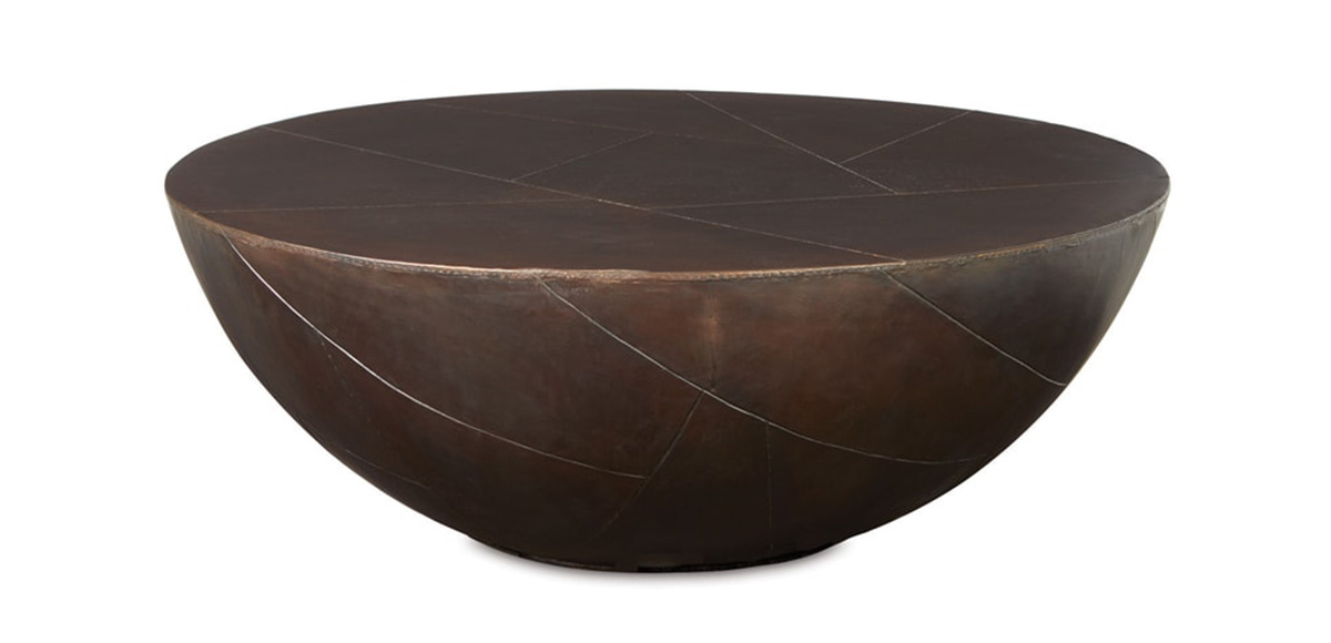 Delano Drum Coffee Table With Antique Brass Top Sku Dl 503